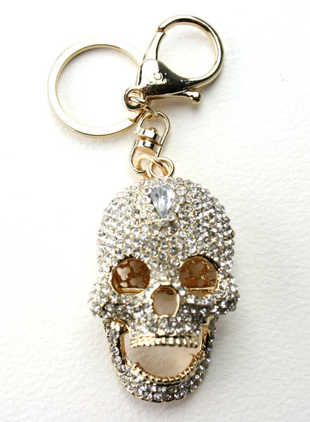Diamante Skull Key Ring