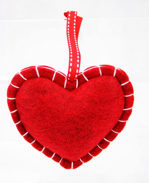 Padded Hanging Snowflake Embroidered Heart