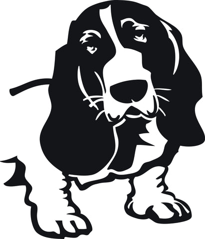 "BASSETT HOUND DOG HEAD  5"" TALL DECAL BY EYECANDY DECALS"