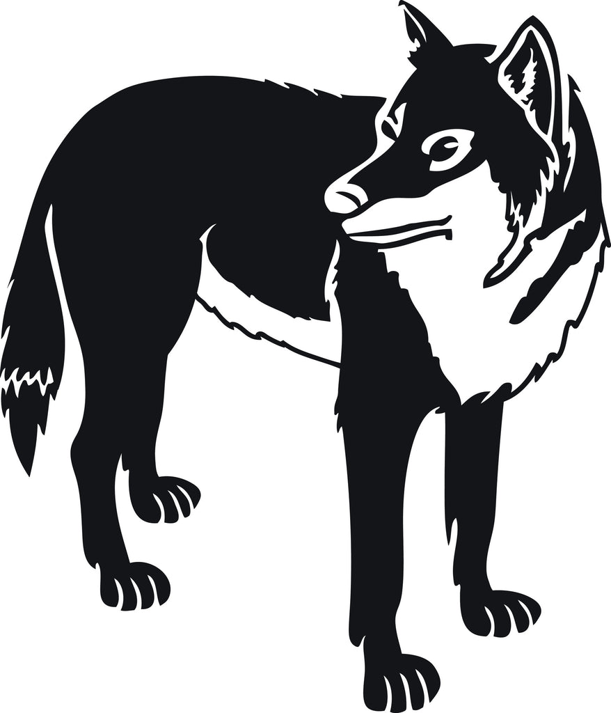 "WOLF DOG STANDING  5"" WIDE DECAL BY EYECANDY DECALS"