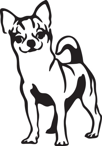 "CHIHAUHAU DOG STANDING  5"" TALL DECAL BY EYECANDY DECALS"