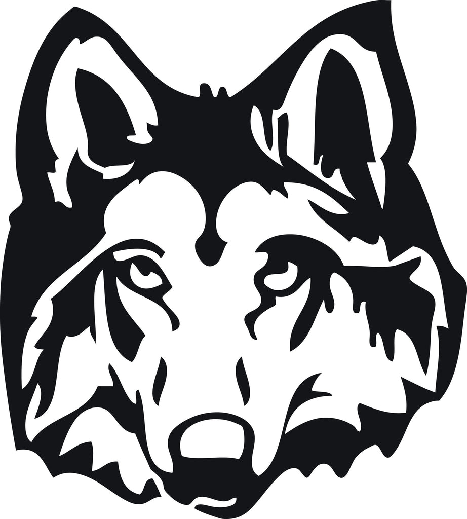 "WOLF DOG HEAD  5"" TALL DECAL BY EYECANDY DECALS"