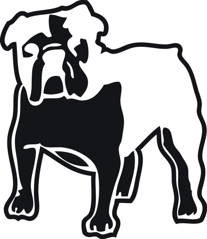 "BULLDOG DOG STANDING  5"" WIDE DECAL BY EYECANDY DECALS"