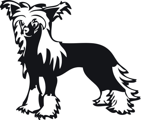 "CHINESE CRESTED DOG STANDING  5"" WIDE DECAL BY EYECANDY DECALS"