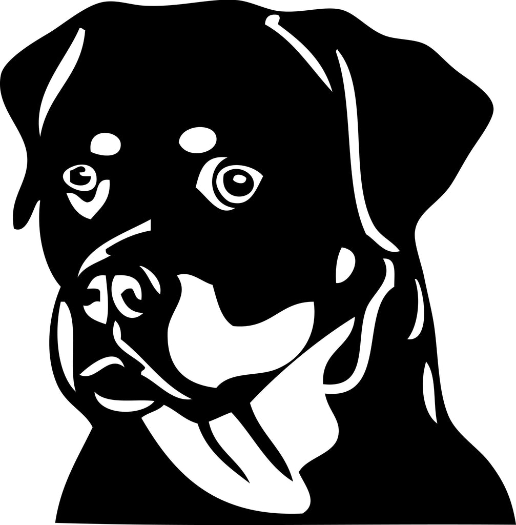 "ROTTWEILLER DOG HEAD  5"" TALL DECAL BY EYECANDY DECALS"