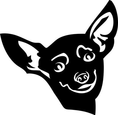 "CHIHUAHUA DOG HEAD  5"" WIDE DECAL BY EYECANDY DECALS"