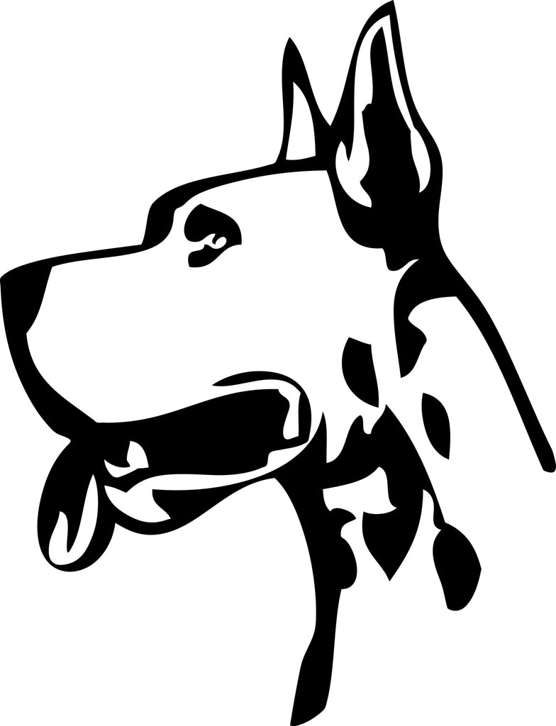 "GREAT DANE DOG HEAD  5"" TALL DECAL BY EYECANDY DECALS"