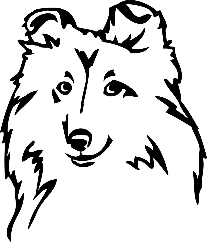 "SHELTIE DOG HEAD  5"" TALL DECAL BY EYECANDY DECALS"