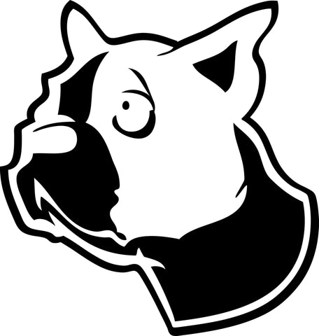 "BOSTON TERRIER DOG HEAD  5"" TALL DECAL BY EYECANDY DECALS"