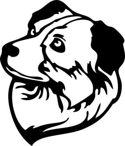 "AUSSIE DOG HEAD  5"" TALL DECAL BY EYECANDY DECALS"