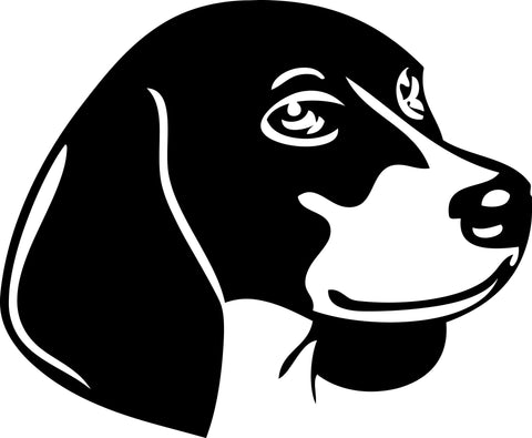 "BEAGLE DOG HEAD  5"" WIDE DECAL BY EYECANDY DECALS"