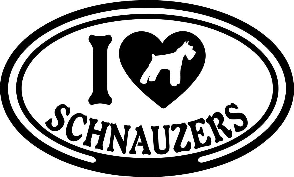 "I LOVE SCHNAUZERS  5"" WIDE DECAL BY EYECANDY DECALS"