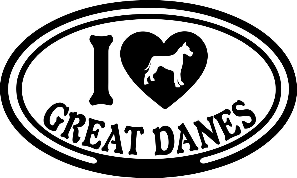 "I LOVE GREAT DANES  5"" WIDE DECAL BY EYECANDY DECALS"