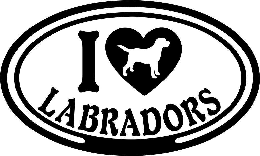 "I LOVE LABRADORS  5"" WIDE DECAL BY EYECANDY DECALS"