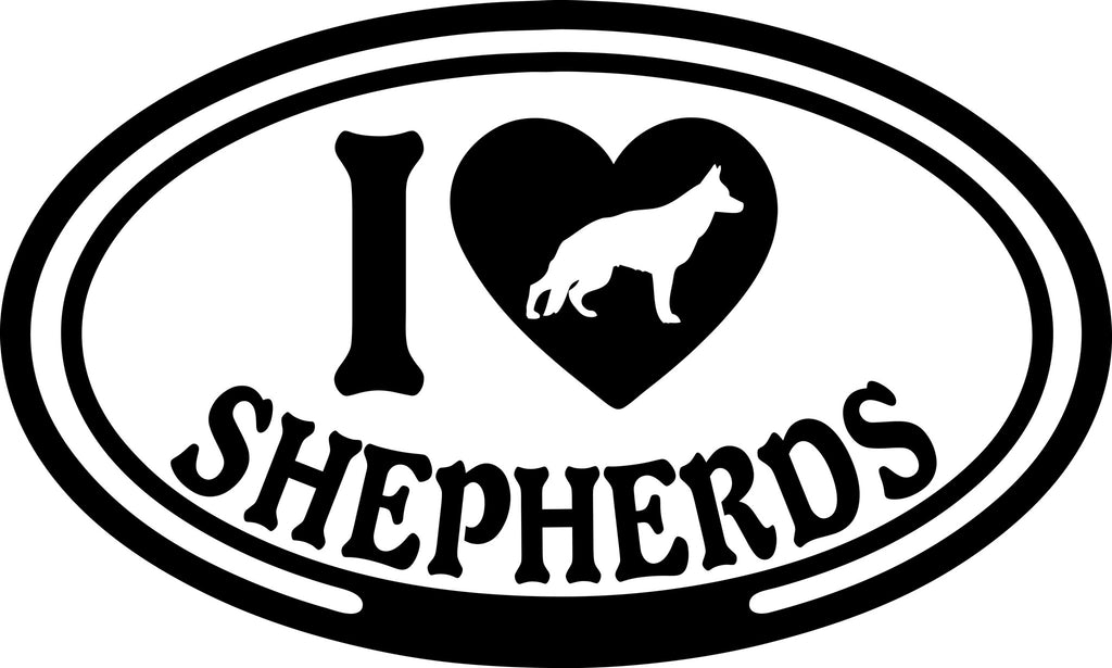 "I LOVE SHEPHERDS  5"" WIDE DECAL BY EYECANDY DECALS"