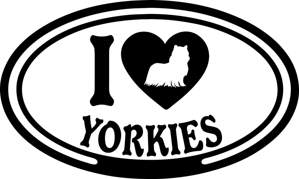 "I LOVE YORKIES  5"" WIDE DECAL BY EYECANDY DECALS"