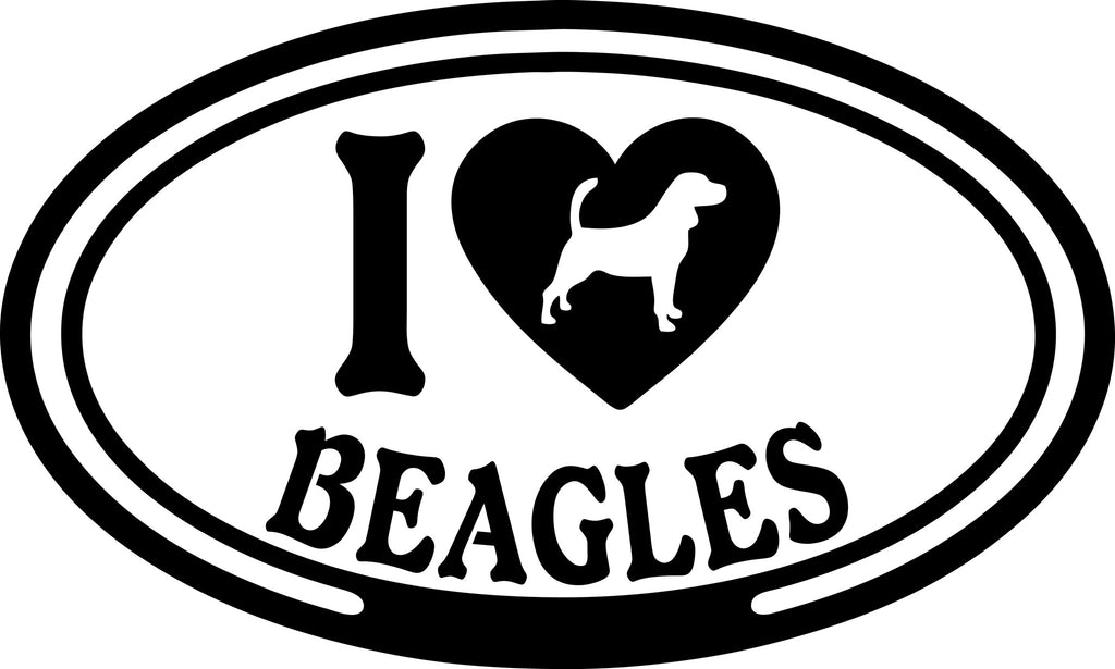 "I LOVE BEAGLES  5"" WIDE DECAL BY EYECANDY DECALS"