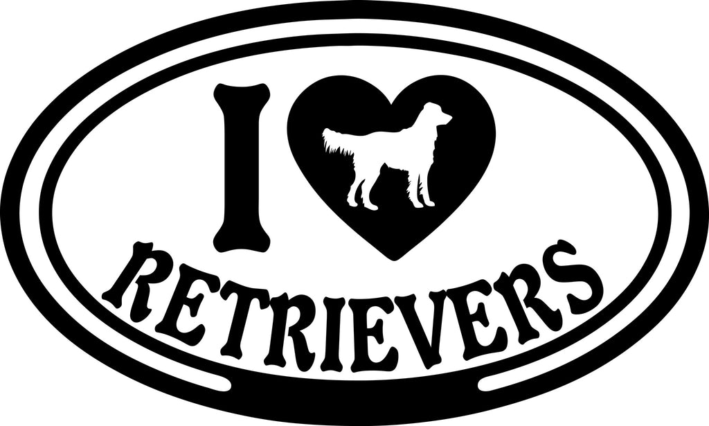 "I LOVE RETRIEVERS  5"" WIDE DECAL BY EYECANDY DECALS"