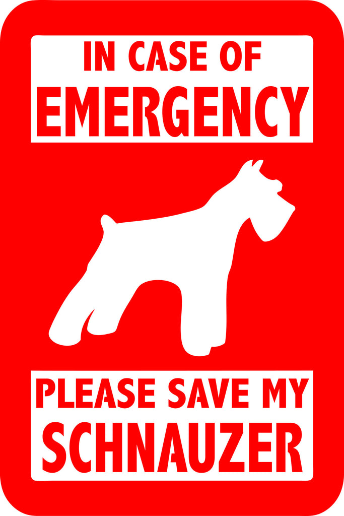 "PLEASE SAVE MY SCHNAUZER  5"" TALL DECAL BY EYECANDY DECALS"