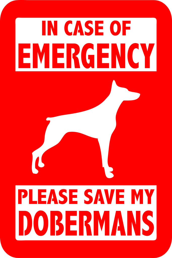"PLEASE SAVE MY DOBERMANS  5"" TALL DECAL BY EYECANDY DECALS"