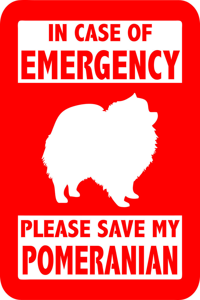 "PLEASE SAVE MY POMERANIAN  5"" TALL DECAL BY EYECANDY DECALS"