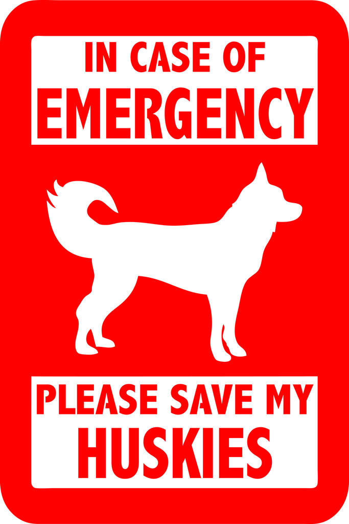 "PLEASE SAVE MY HUSKIES  5"" TALL DECAL BY EYECANDY DECALS"