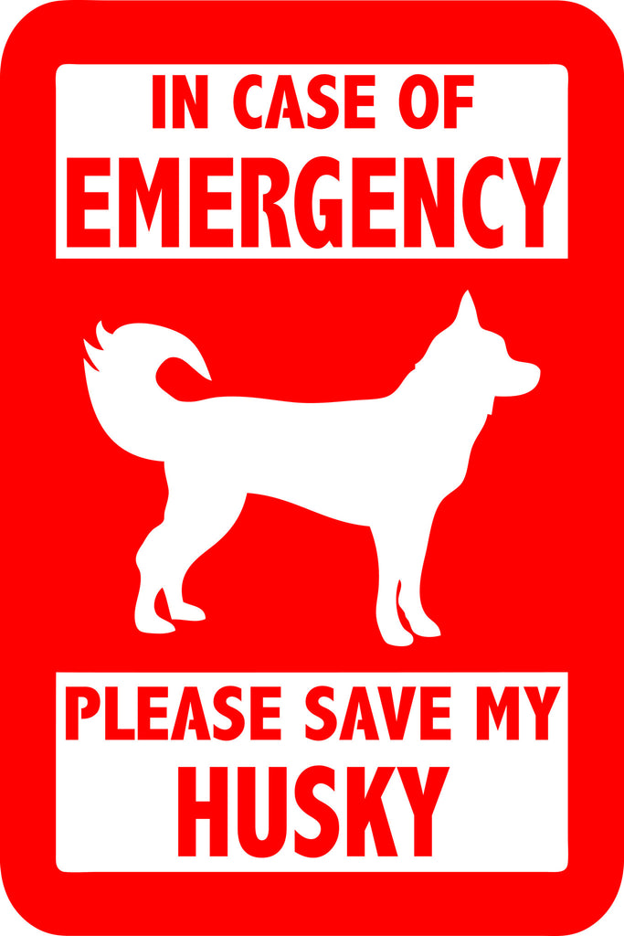 "PLEASE SAVE MY HUSKY  5"" TALL DECAL BY EYECANDY DECALS"