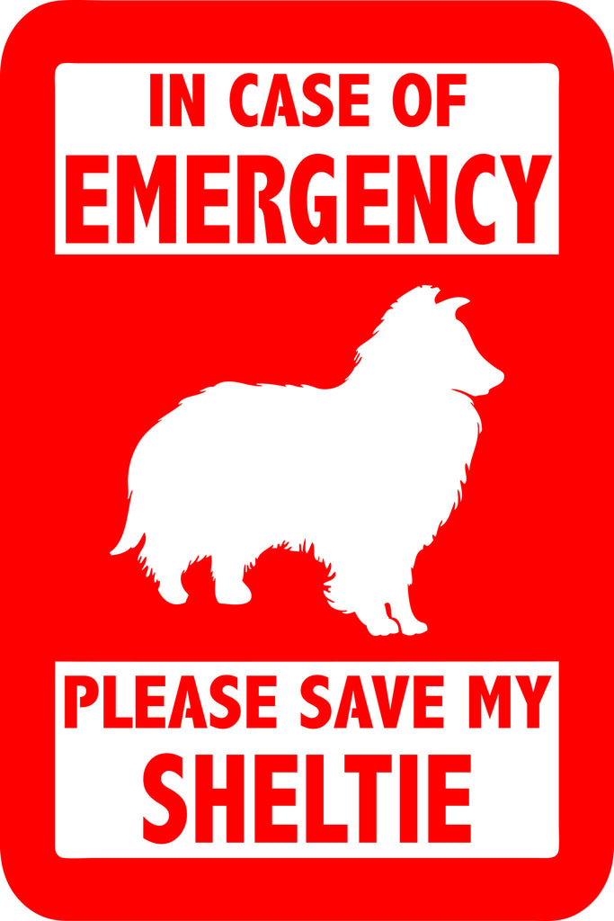 "PLEASE SAVE MY SHELTIE  5"" TALL DECAL BY EYECANDY DECALS"