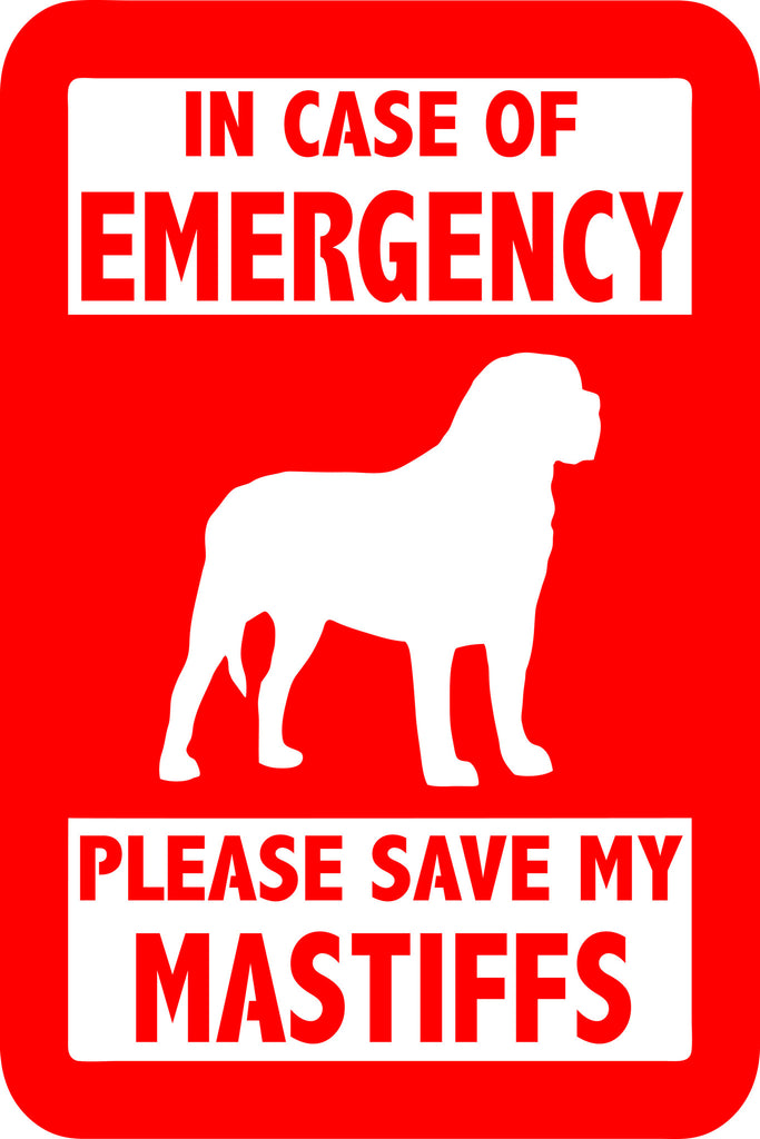 "PLEASE SAVE MY MASTIFFS  5"" TALL DECAL BY EYECANDY DECALS"