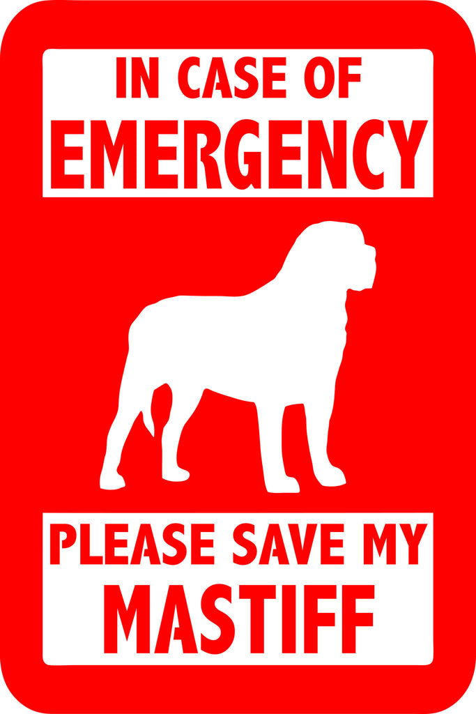"PLEASE SAVE MY MASTIFF  5"" TALL DECAL BY EYECANDY DECALS"