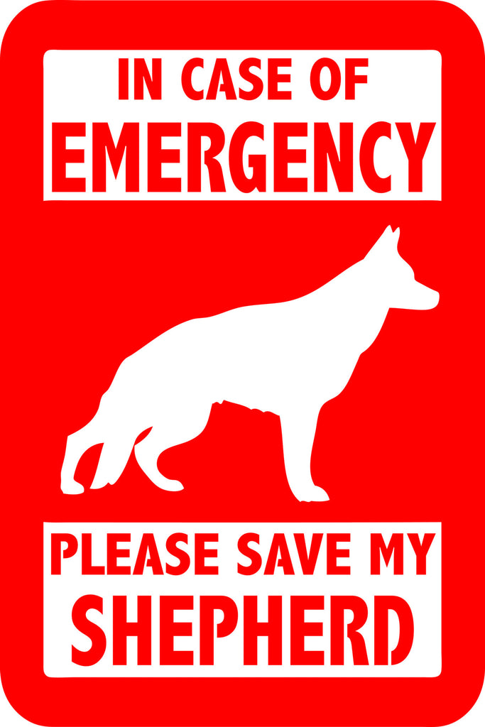 "PLEASE SAVE MY SHEPHERD  5"" TALL DECAL BY EYECANDY DECALS"