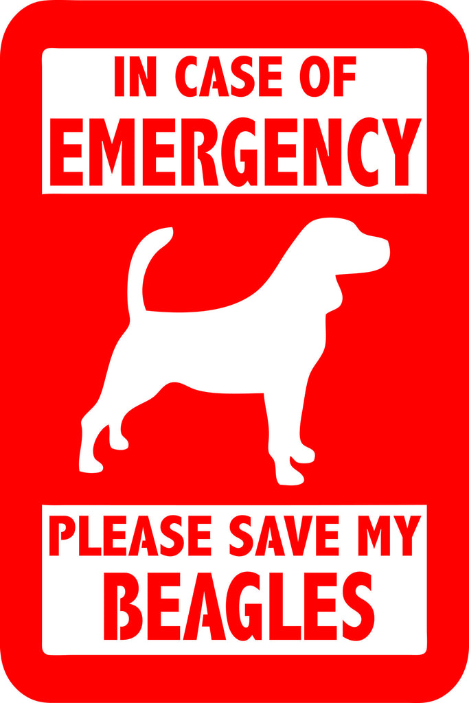 "PLEASE SAVE MY BEAGLES  5"" TALL DECAL BY EYECANDY DECALS"