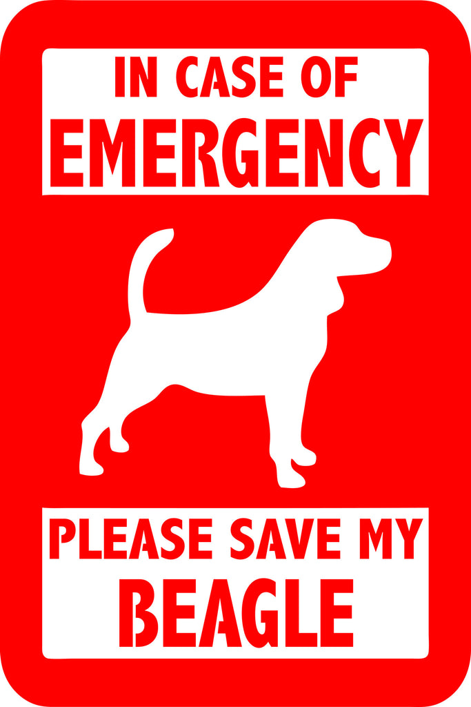 "PLEASE SAVE MY BEAGLE  5"" TALL DECAL BY EYECANDY DECALS"