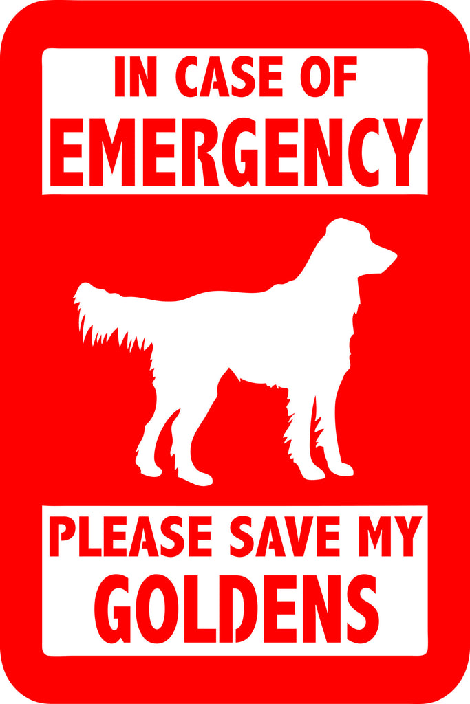 "PLEASE SAVE MY GOLDENS  5"" TALL DECAL BY EYECANDY DECALS"