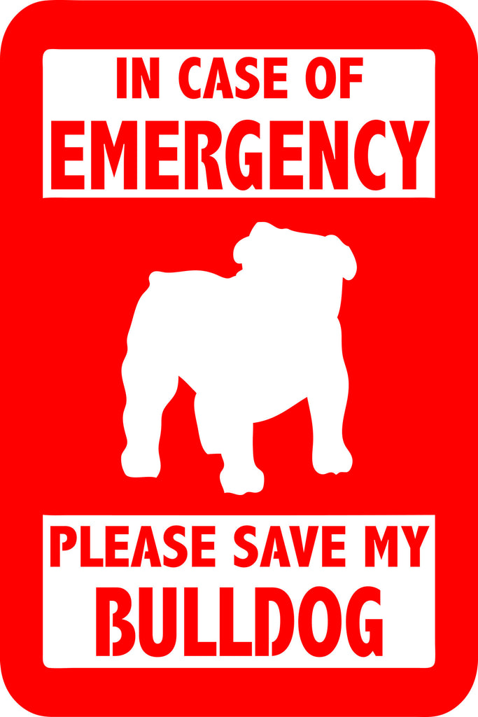 "PLEASE SAVE MY BULLDOG  5"" TALL DECAL BY EYECANDY DECALS"