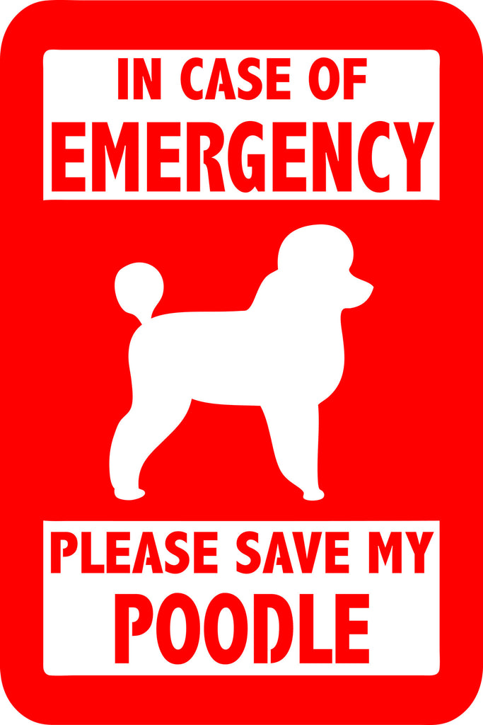 "PLEASE SAVE MY POODLE  5"" TALL DECAL BY EYECANDY DECALS"