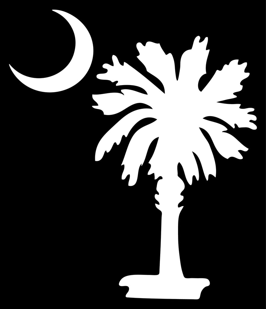 "SOUTH CAROLINA PALMETTO MOON (SIMPLE STYLE)  5"" TALL DECAL BY EYECANDY DECALS"