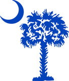 "SOUTH CAROLINA PALMETTO MOON (DETAILED STYLE)  5"" TALL DECAL BY EYECANDY DECALS"