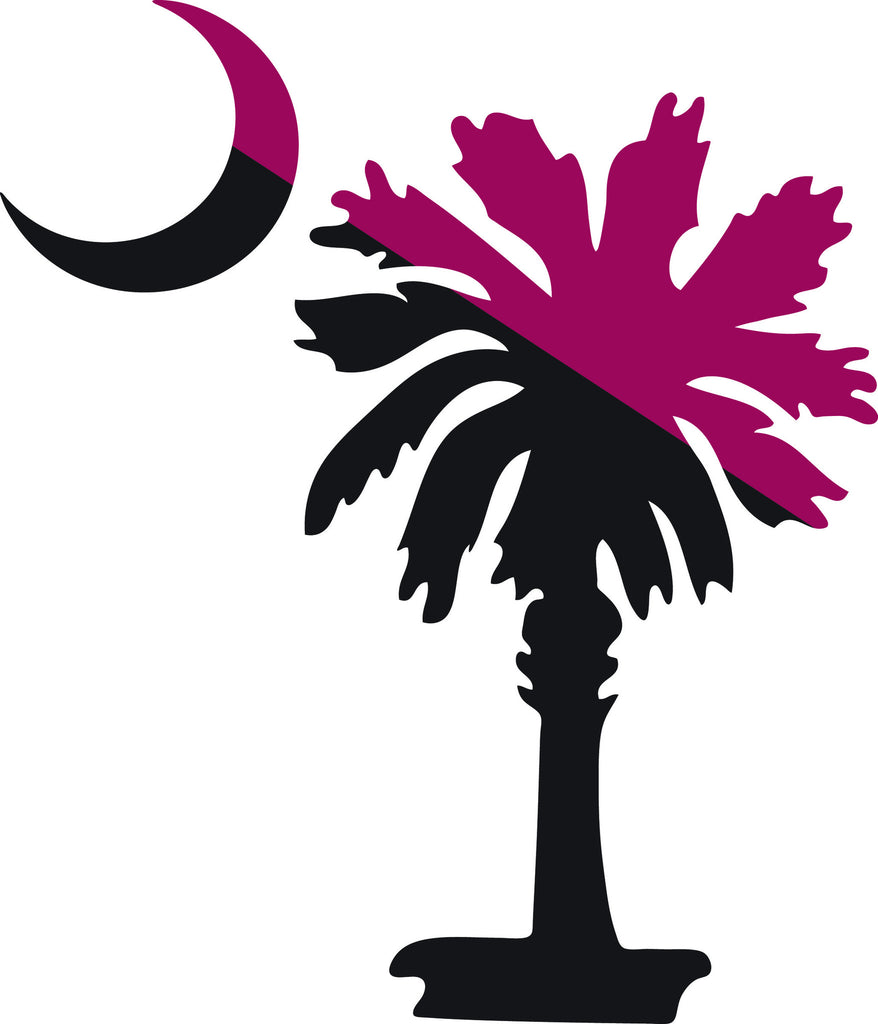 "SOUTH CAROLINA PALMETTO MOON (SIMPLE STYLE)  5"" TALL DARK RED AND BLACK DECAL BY EYECANDY DECALS"