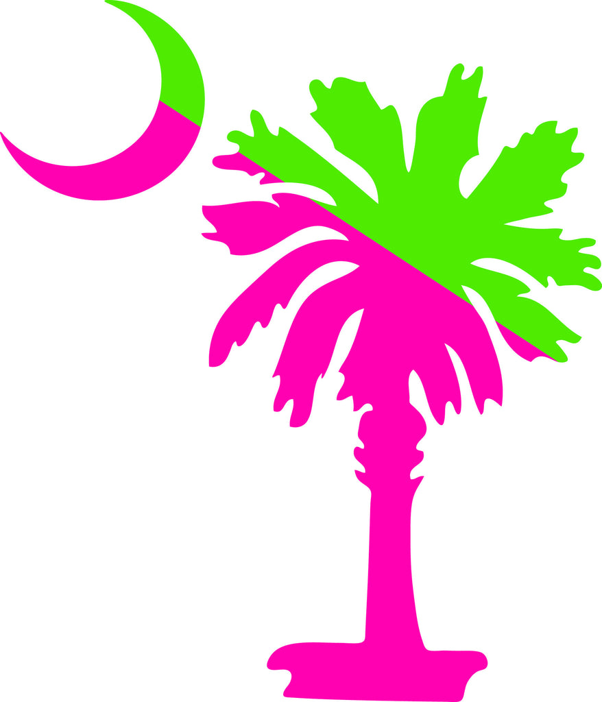 "SOUTH CAROLINA PALMETTO MOON (SIMPLE STYLE)  5"" TALL PINK AND LIME GREEN DECAL BY EYECANDY DECALS"