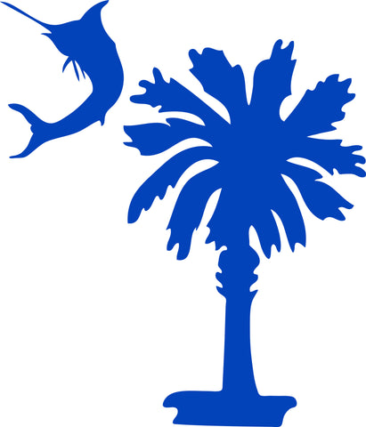 "SOUTH CAROLINA PALMETTO AND MARLIN AS MOON  5"" TALL DECAL BY EYECANDY DECALS"