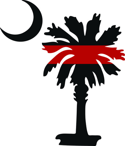 "SOUTH CAROLINA PALMETTO MOON FIRE FIGHTER THIN RED LINE  5"" TALL RED AND BLACK DECAL BY EYECANDY DECALS"