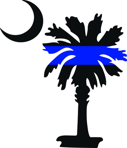 "SOUTH CAROLINA PALMETTO MOON POLICE THIN BLUE LINE  5"" TALL BLUE AND BLACK DECAL BY EYECANDY DECALS"