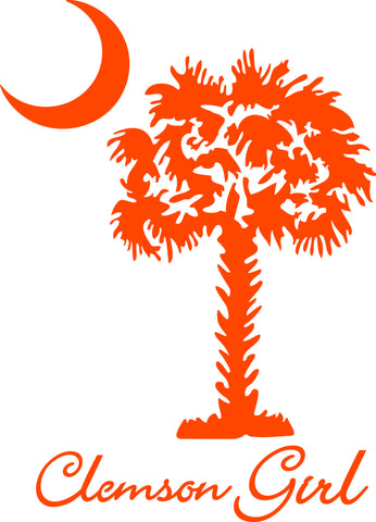 "CLEMSON GIRL UNDER SOUTH CAROLINA PALMETTO AND MOON  6"" TALL DECAL BY EYECANDY DECALS"