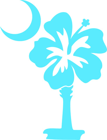 "HIBISCUS FLOWER AS SOUTH CAROLINA PALMETTO AND MOON  6"" TALL DECAL BY EYECANDY DECALS"