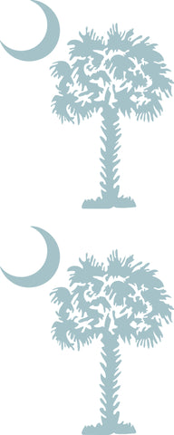"SOUTH CAROLINA PALMETTO MOON (DETAILED STYLE)  3"" TALL 2 PACK DECAL BY EYECANDY DECALS"