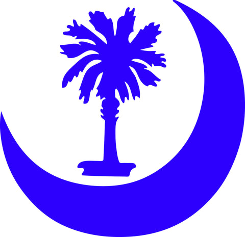 "MOON AROUND SOUTH CAROLINA PALMETTO  5"" TALL DECAL BY EYECANDY DECALS"