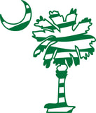 "ZEBRA STRIPED SOUTH CAROLINA PALMETTO AND MOON  5"" TALL DECAL BY EYECANDY DECALS"