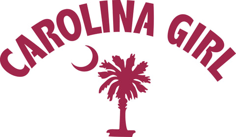 "CAROLINA GIRL ARCHED OVER SOUTH CAROLINA PALMETTO AND MOON  6"" WIDE DECAL BY EYECANDY DECALS"