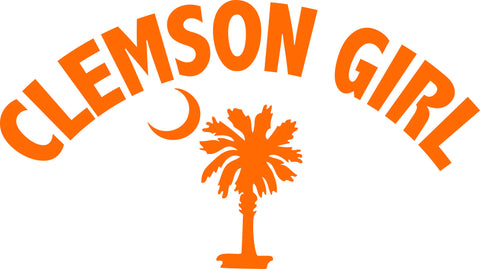 "CLEMSON GIRL ARCHED OVER SOUTH CAROLINA PALMETTO AND MOON  6"" WIDE DECAL BY EYECANDY DECALS"
